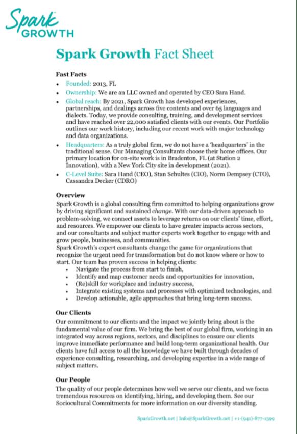 Spark Growth Fact Sheet